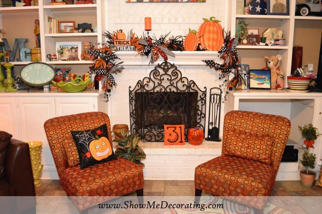 The heart of the home the fireplace is a great place to decorate for the Halloween season