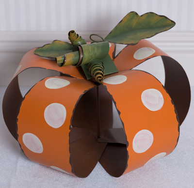 Metal Polka Dot Pumpkin, Large