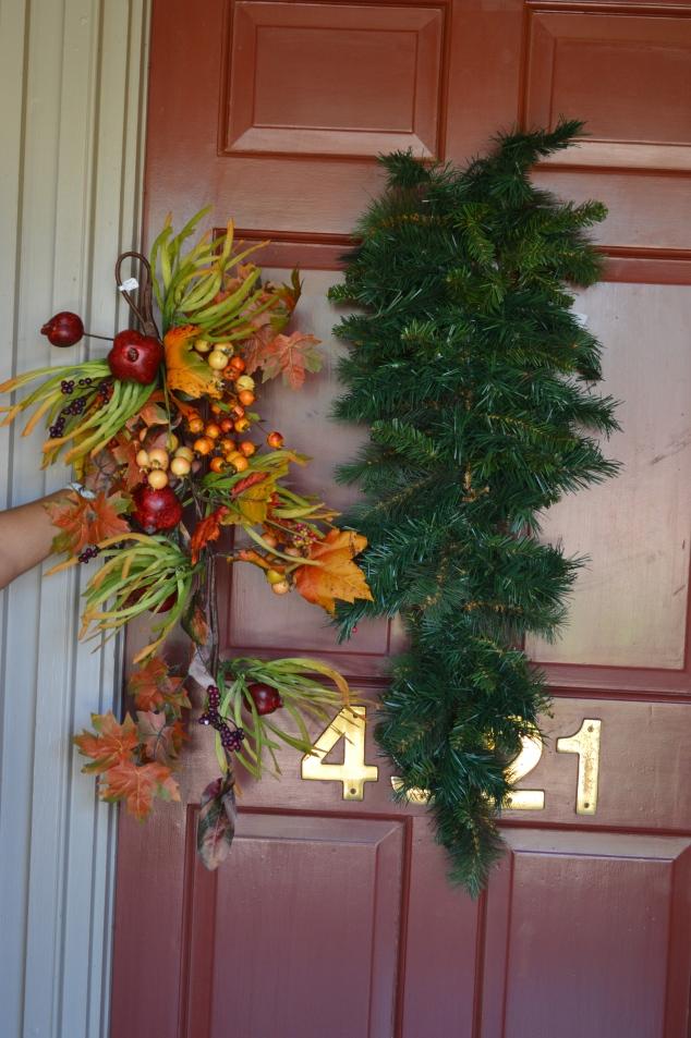 Faux pine teardrop, and a fall foliage teardop form the base