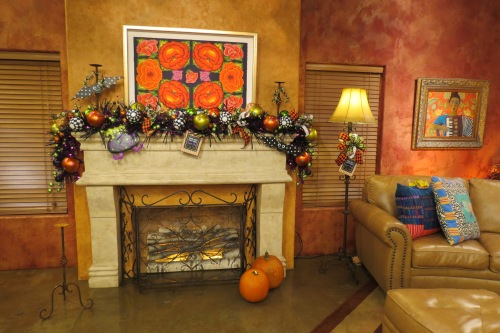 Halloween Garland, Halloween Mantle, Halloween Decorations, Black and White check balls, Polka Dot balls