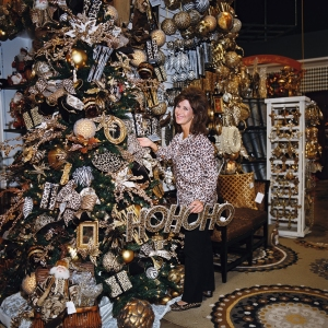 Miss Cayce's Christmas Store 2013 tour, Becky shows off the Animal Print Christmas tree theme