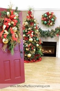 Beautiful Royal Red and Gold theme door decor teardrop