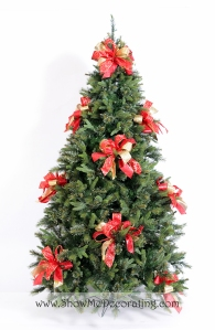 Show Me Decorating Royal Red and Gold Christmas tree theme, Bow