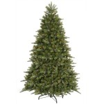"7' x 55"" Hawthorne Mixed Pine Instant Shape Tree With 1851 PE/PVC Tips, 700 Clear/Multi, Dura-Lit® Lights, Unlit, Folding Metal Stand, Step On/Off Switch Cord"