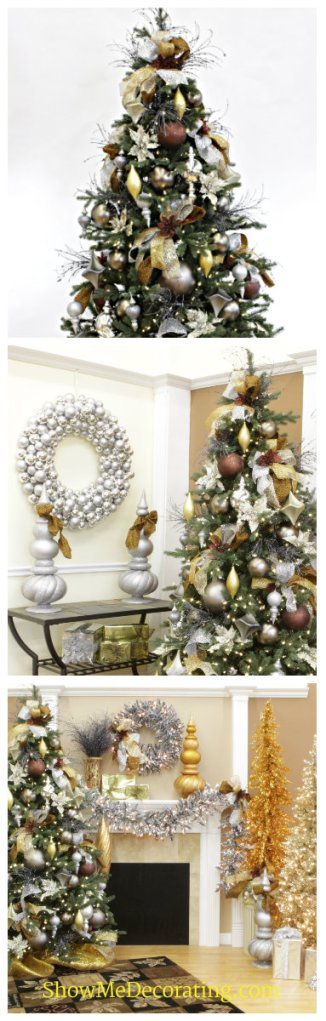 Metallic Christmas Decorating theme, Christmas Gold, Christmas Platinum, Christmas Silver