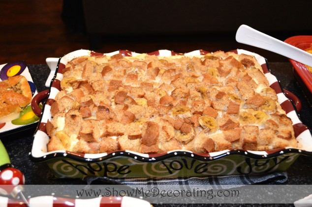 Banana French Toast Bake, is festive, served in an oven proof casserole dish!