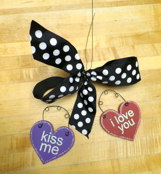 Conversation Hearts and polka dot bows