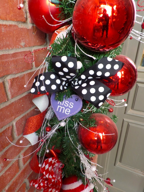 Polka Dot Bow and Conversation heart are wired onto garland