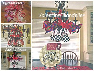 Valentine decorating, Valentine chandelier