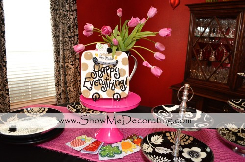 Coton Color's Happy Everything platter with seasonal attachments serves as part of the centerpiece and gift!
