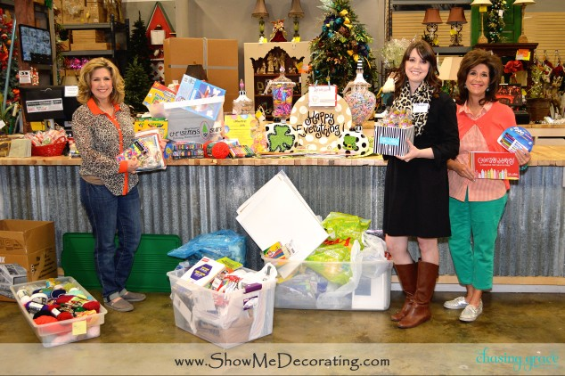 Kathy and Becky present Kelsee and Rays of Hope, the donated Art Supplies and Color Me Happy Coloring books.