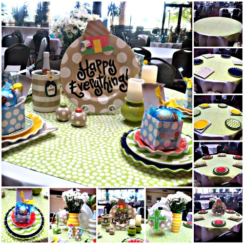 happy everything, place settings, colorful plates, coton colors