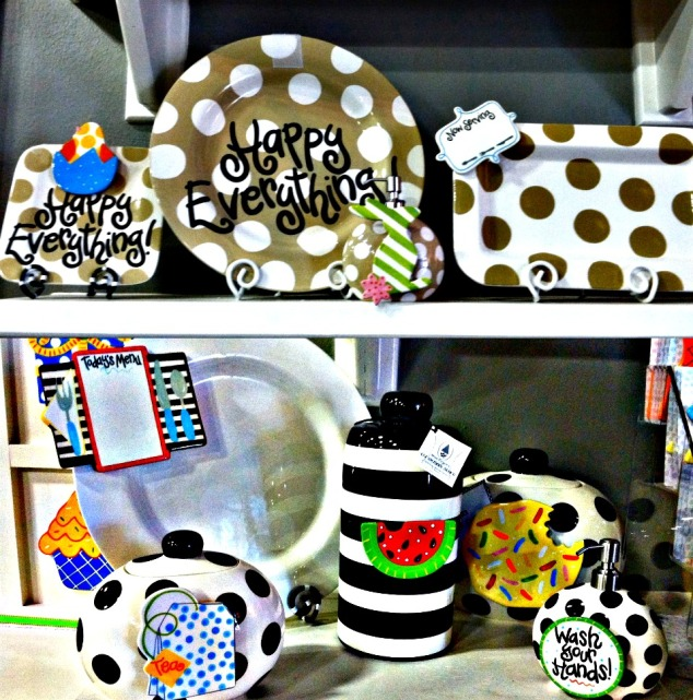 coton colors platters, cookie jars, happy everything, black and white, neutral