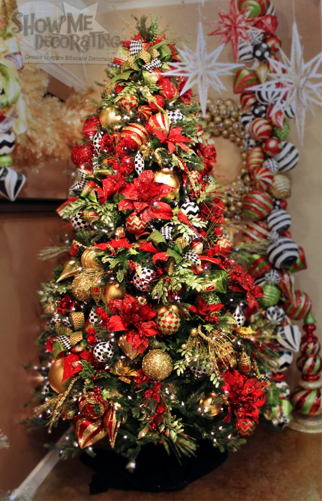 christmas sparkle christmas tree theme red velvet ribbon red poinsettias lime green - Red And Gold Christmas Decorations