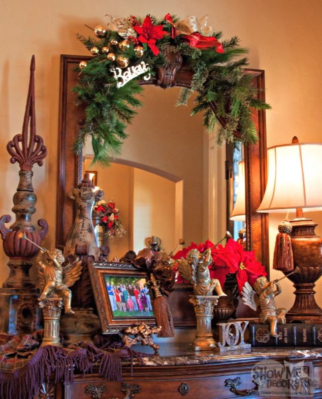 christmas decor, christmas entry way,