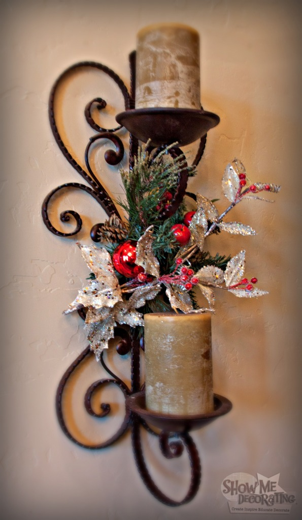 christmas decor, christmas sconce decor,