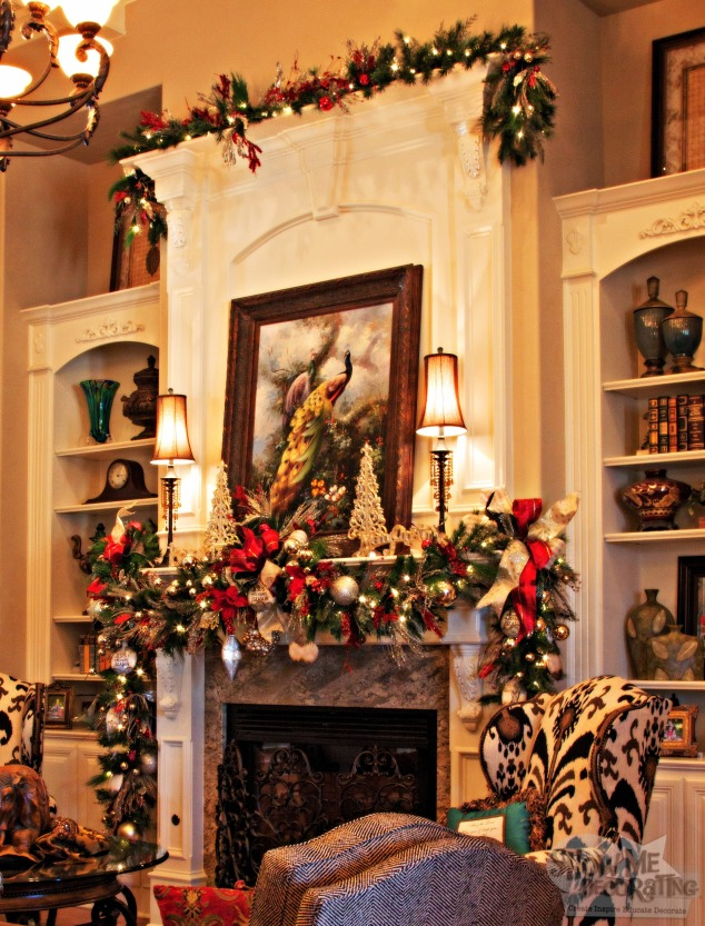 mantle garland, living room christmas decor,