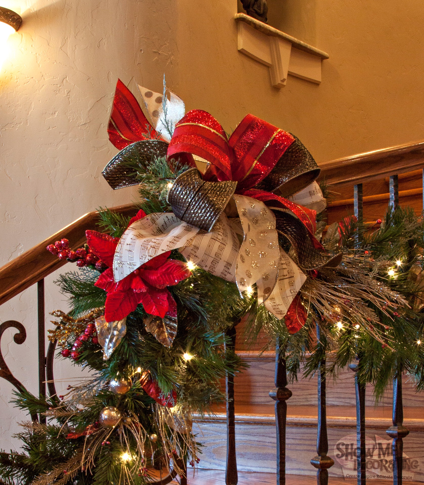 Silver And Red Bows Garland Bows Staircase Garland
