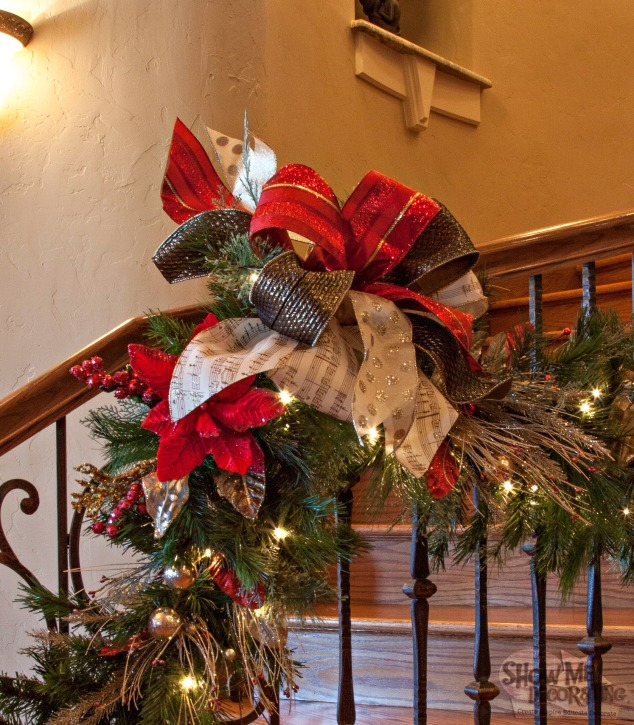 silver and red bows, garland bows, staircase garland,